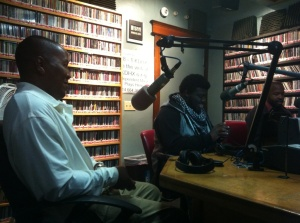 Author F. Kenneth Taylor (far right) at KDHX 88.1 FM Poet, Marcus Mucherson (middle) Host, MK Stallings (far left)