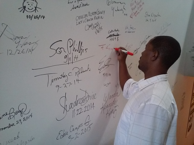 F. Kenneth Taylor signs 'The Author Wall' @ The Book House ~ St. Louis, MO 2015
